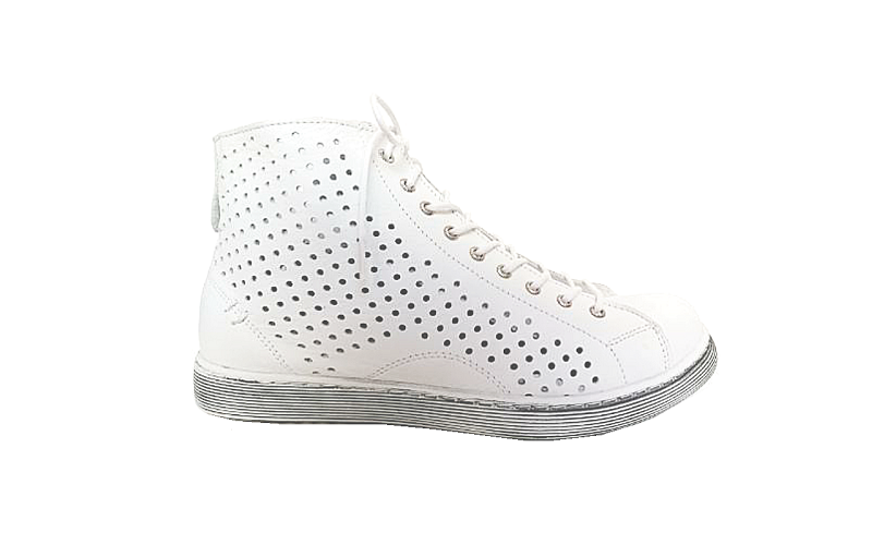 Andrea Conti hoge sneaker in wit leder met perforaties, sluiting met veter én rits, uitneembare binnenzool - €89.95