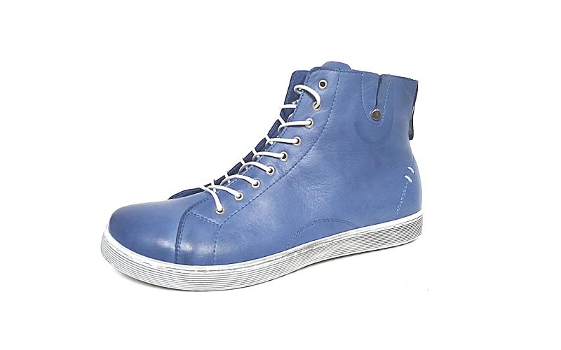 Hoge sneaker van Andrea Conti in denim blauw leder, voering en binnenzool in leder, uitneembare binnenzool, veter én rits, soepele antislip zool - €89.95