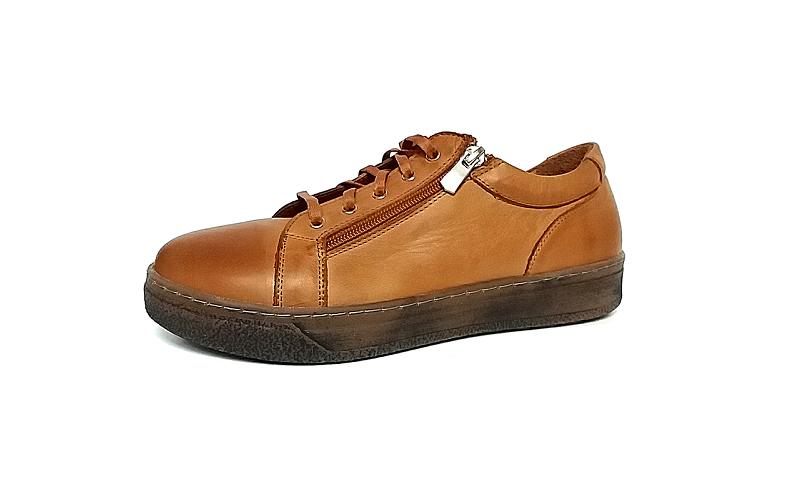 Andrea Conti soepele veterschoen/sneaker in cognackleurig leder, uitneembare binnenzool, veter en rits - €79.95 -10%