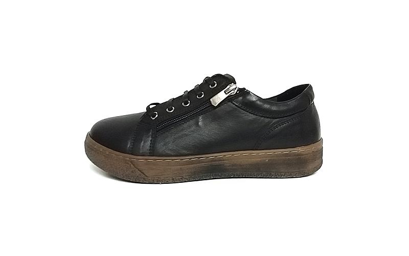 Andrea Conti soepele veterschoen/sneaker in zwart leder, uitneembare binnenzool, veter en rits - €79.95 -10%