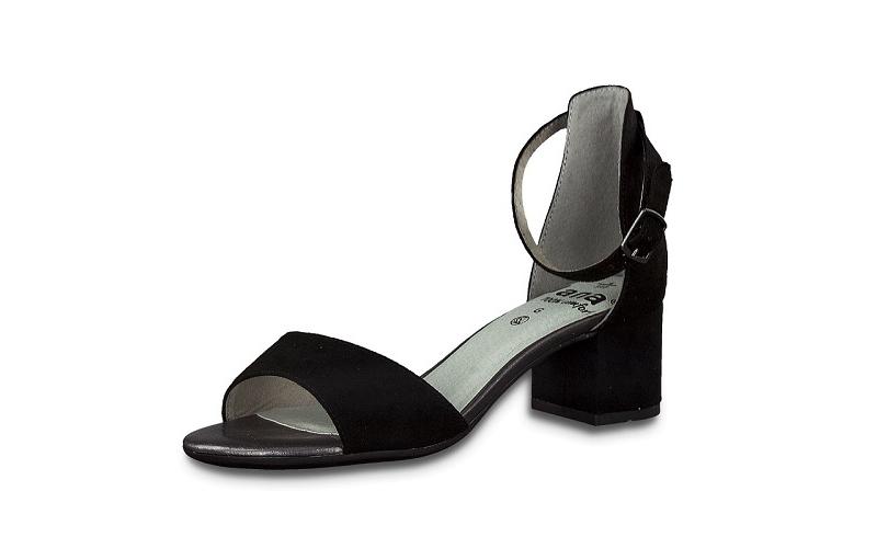 Jana, elegant schoentje met open teen op een blokhakje van 3 cm, zwarte imitatiedaim, sluiting met gespje rond de enkel, G-breedte (breed) - €49.95