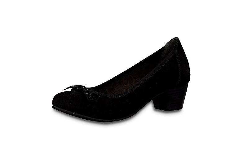 Zwarte Jana Softline pump, blokhakje van 3 cm, H-breedte (extra breed)