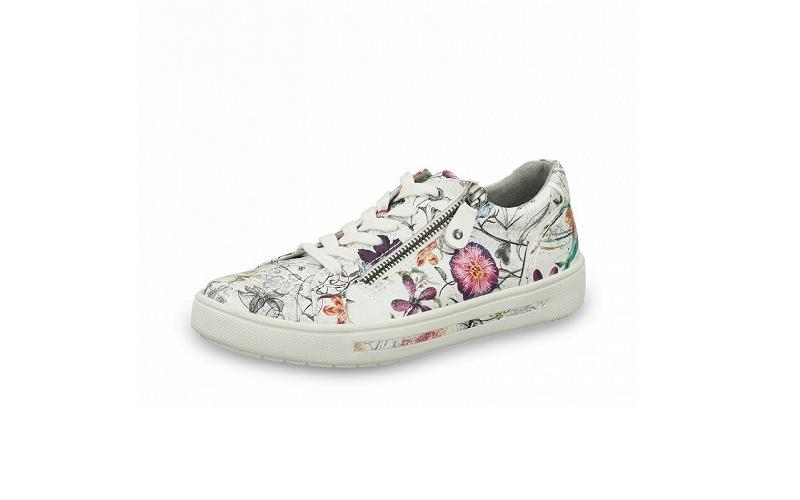 Lage sneaker van Jana Softline in wit imitatieleder met multicolor bloemenprint, uitneembare binnenzool, sluiting met veter én rits, H-breedte (extra breed), antislipzool met gerecycleerde petflessen - €59.95