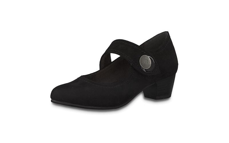 Jana Softline zwarte lage schoen in imitatiedaim, blokhakje van 3 cm, velcrosluiting, H-breedte (extra breed) - €49.95