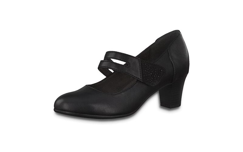 Jana Softline zwarte lage schoen, fijn blokhakje van 4 cm, velcrosluiting, H-breedte (extra breed) - €49.95