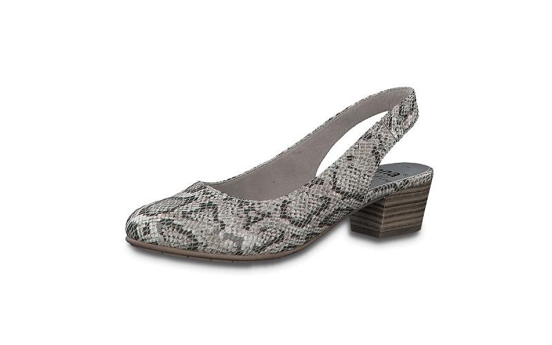 """Jana Softline """"slingback"""" lage schoen, blokhakje 3 cm, lichtgrijs imitatieleer met snake print, H-breedte (extra breed) - €49.95"""
