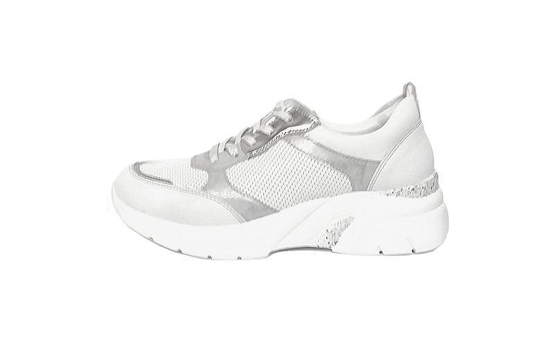 Remonte sneaker op een sleehak van 3 cm, wit leer met zilvergrijze accenten, uitneembare binnenzool, drysport voering, G-breedte (breed) - €79.95