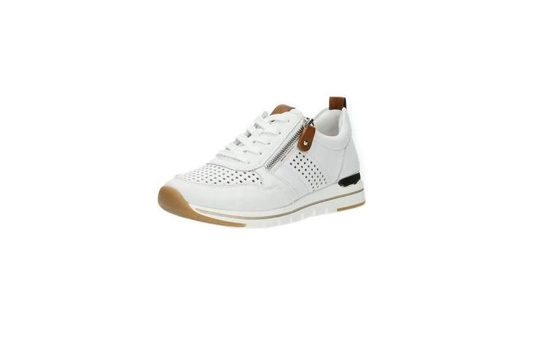 Lage sneaker van Remonte in wit leder met cognac accenten, veter én rits, uitneembare binnenzool - €79.95