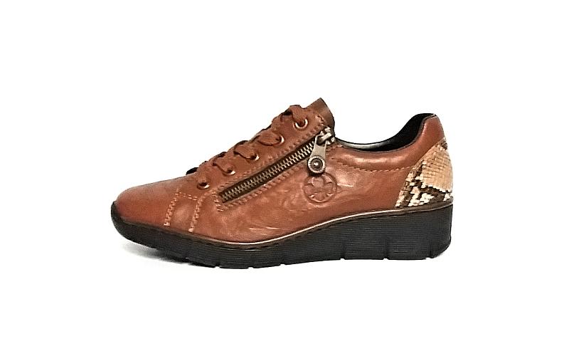 Rieker sportieve lage schoen in cognackleurig leder, veter én rits, zeer licht en comfortabel - €69.95 -20%