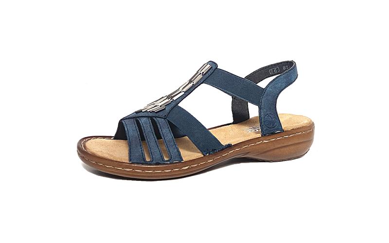 Sandaal van Rieker op een vlakke zool, E1/2 breedte (normaal), zacht voetbed - €64.95