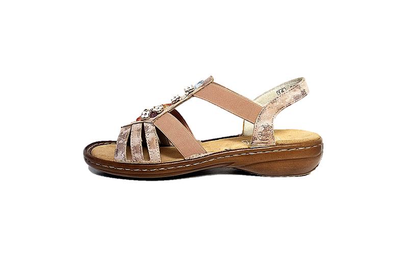 Rieker, lichtroze sandaal op een soepele zool, zacht voetbed - €59.95