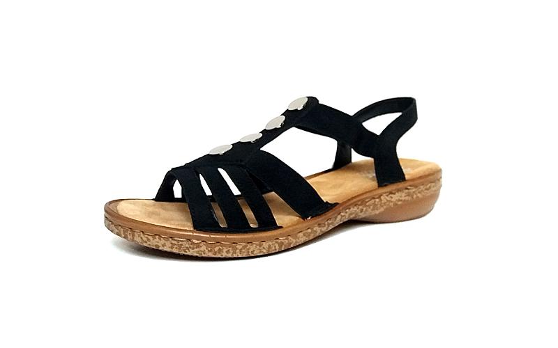 Sandaal van Rieker op een vlakke zool, zacht voetbed, E1/2 breedte (normaal), zeer licht en comfortabel - €64.95