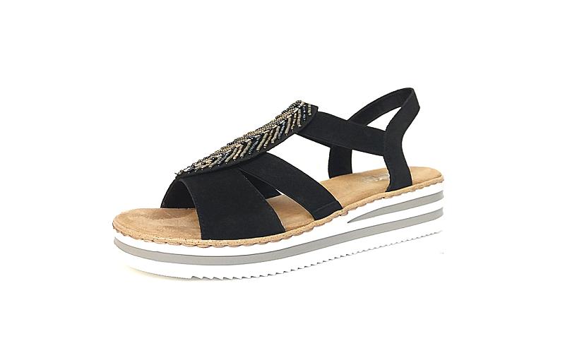 Sandaal van Rieker op een sleehakje van 2 cm, zacht voetbed, zeer comfortabel - €64.95