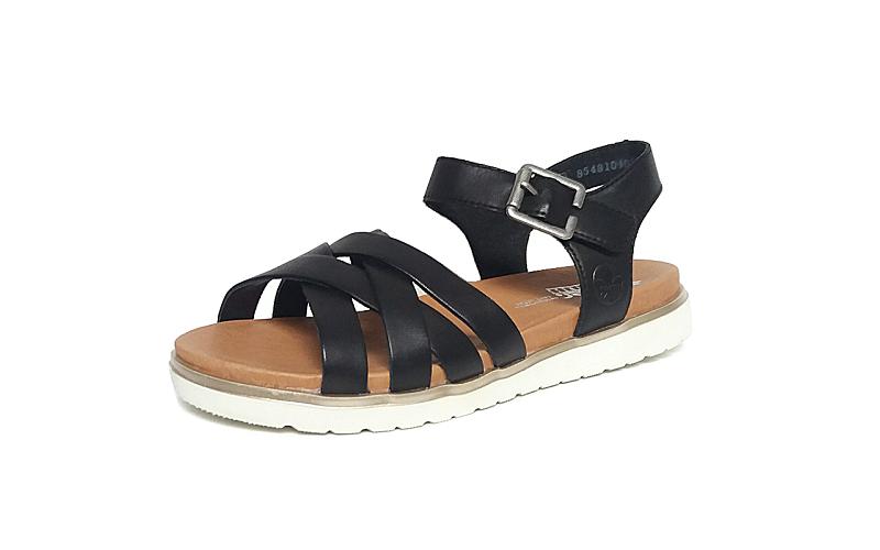 Sandaal van Rieker in zwart leder, zacht voetbed met lederen binnenzool, velcro sluiting (de gesp is een verstelbare velcro) - €69.95
