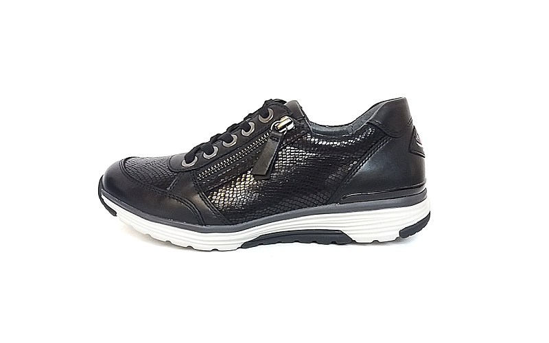 Rollingsoft sneaker in zwart leder, uitneembare binnenzool, veter én rits - €135.00