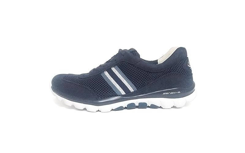 Lage sneaker van Rollingsoft Gabor in een combinatie van blauwe daim met blauwe textiel, uitneembare lederen binnenzool, vetersluiting, F-breedte (normaal) - €99.90