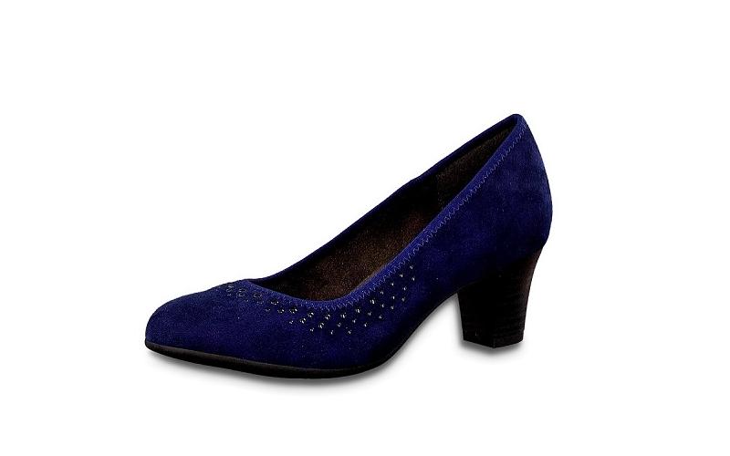 Blauwe pump van Jana Softline, H-breedte (extra breed), hakje van 4 cm - €55.00