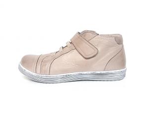 Sportieve lage schoen van Andrea Conti in dark stone leder, uitneembare binnenzool, sluiting met rits aan de binnenzijde én velcro over de wreef, zeer soepel leder - €89.95