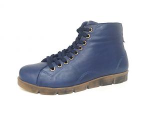 Hoge sneaker van Andrea Conti in zeer soepel astral blauw leder, uitneembare binnenzool, sluiting met veter én rits - €89.95