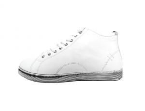 Andrea Conti halfhoge sneaker in wit leder, sluiting met veter én rits, uitneembare binnenzool - €79.95
