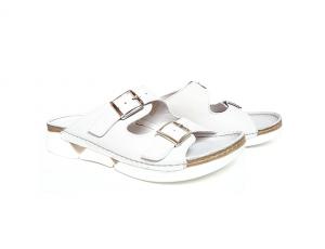 Aansteker van Andrea Conti in wit leder, verstelbaar met 2 gespen, binnenzool en voering in leder - €59.95