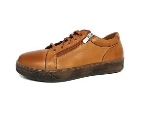 Andrea Conti soepele veterschoen/sneaker in cognackleurig leder, uitneembare binnenzool, veter en rits - €79.95