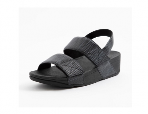 Sandaal van FitFlop in zwarte PU met zachte voering, aanpasbaar met 2 velcro sluitingen, schokabsorberende EVA-plateauzool - €90.00