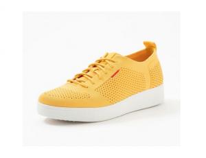 Lage sneaker van FitFlop in gele textiel, vetersluiting, schokabsorberende zool, ademende binnenzool - €100.00