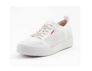 Lage sneaker van FitFlop in witte textiel, vetersluiting, schokabsorberende zool, ademende binnenzool - €100.00