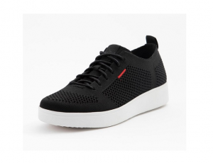 Lage sneaker van FitFlop in zwarte textiel, vetersluiting, schokabsorberende zool, ademende binnenzool - €100.00