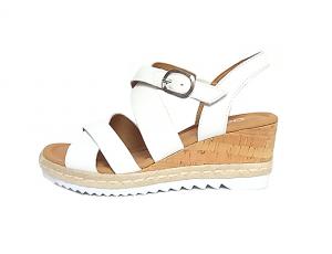 Gabor sandaal op een sleehak van 5 cm, wit leder, G-breedte (breed), velcrosluiting (gesp=velcro) - €99.90