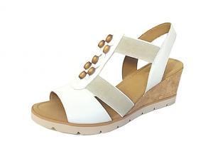 Gabor sandaal op een sleehak van 5 cm, wit leer, past mooi aan de voet door de elastieken aan beide zijden van de sandaal, vederlicht model - €89.90