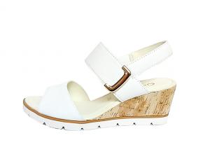 Gabor sandaal op een sleehak van 4 cm, wit leer, velcrosluiting, zeer licht model - €99.90