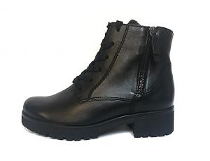 Gabor enkellaarsje in zwart leder, blokhak van 2 cm, G-breedte (breed), ritssluiting aan de binnenzijde (rits aan de buitenzijde is enkel decoratie) - €99.90