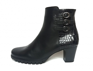Gabor enkellaarsje in soepel zwart leder, fijne blokhak van 4 cm, G-breedte (breed), ritssluiting aan de binnenzijde - €120.00