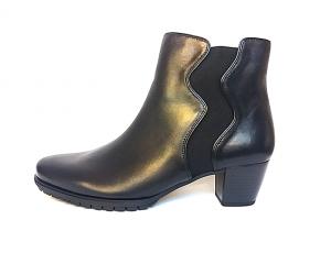 Gabor enkellaarsje in zwart leder, blokhakje van 4 cm, ritssluiting aan de binnenzijde, H-breedte (extra breed) - €99.90 -30%