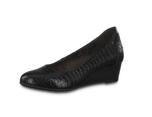Jana Softline pump in zwarte croco lak, sleehakje 3 cm, H-breedte (extra breed) - €49.95