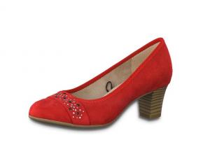 Pump van Jana Softline in rode textiel, hakje van 5 cm, H-breedte(extra breed) - €49.95