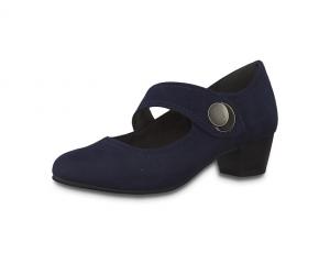 Jana Softline blauwe lage schoen, imitatiedaim, blokhakje van 3 cm, velcrosluiting, H-breedte (extra breed) - €49.95