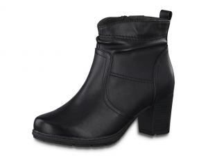 Jana Softline zwart enkellaarsje, blokhak van 5 cm, ritssluiting aan de binnenzijde, H-breedte (extra breed) - €59.95