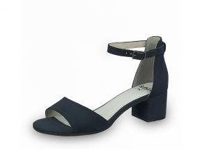 Lage schoen van Jana Softline in marineblauwe imitatie daim, blokhak van 3 cm, G-breedte (breed), in de soft flex antislip zool zitten gerecycleerde petflessen verwerkt - €49.95