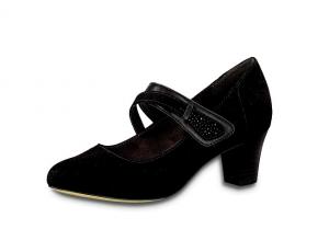 Zwarte schoen van Jana Softline met band over de wreef, velcrosluiting, H-breedte (extra breed), hakje van 4 cm