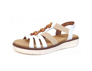 Sandaal van Remonte in wit imitatieleder, uitneembaar voetbed, zacht voetbed, F1/2 breedte (normale breedte maar met iets meer ruimte aan de bal van de voet) - €64.95