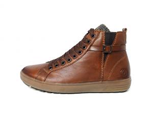 Hoge sneaker van Remonte in cognackleurig leder, sluiting met veter én rits, uitneembaar voetbed, G-breedte (breed) - €89.95