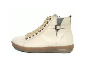 Hoge sneaker van Remonte in crèmekleurig leder, uitneembaar voetbed, sluiting met veter én rits, G-breedte - €89.95