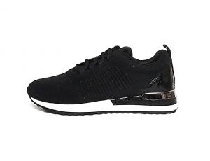 Remonte sneaker in zwarte textiel, sluiting met veter, uitneembaar voetbed, F1/2 breedte (iets breder dan normaal aan de bal van de voet) - €74.95