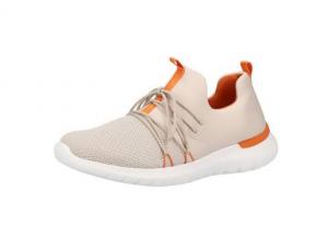 Lage sneaker van Remonte in beige textiel met oranje accenten, uitneembare binnenzool, G-breedte (breed) - €64.95