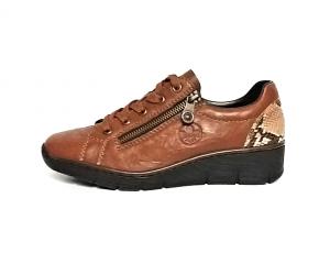 Rieker sportieve lage schoen in cognackleurig leder, veter én rits, zeer licht en comfortabel - €69.95