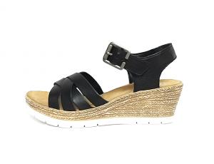 Rieker sandaal op een sleehak van 4 cm, zwart leer, zacht voetbed, velcro sluiting (gesp = velcro) - €64.95