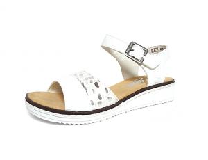 Sandaal van Rieker in wit imitatieleder met zilvergrijze accenten, zacht voetbed, velcro sluiting (gesp=velcro) - €64.95